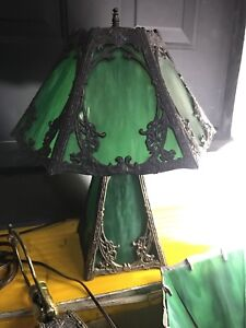 Rustic Lead Crafted Emerald Green Lamps