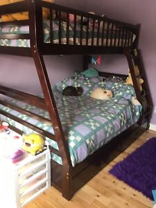 Solid cherry wood single over double bunk