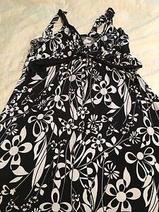 Flower print. Black and white maternity dress