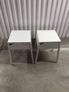 Matching white IKEA side tables