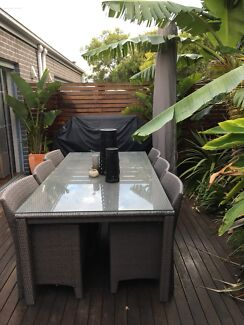 6 seater, outdoor grey patio glass top table