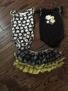 Girls sun flower skirt and shirts size 12 months