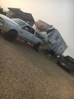 Truck and trailer for rent or hire.