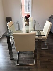 Glass Dinning Table with 4 white chairs $300 OBO