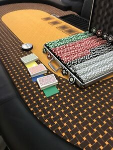 Custom Poker Table + 9 New Chairs + Set 1000 Poker Chips + more