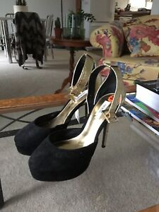 Guess black and gold ankle strap heels size 5.5