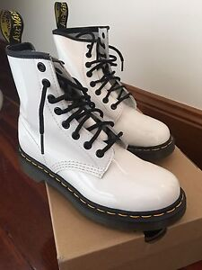 White doc martens - glossy Adelaide CBD Adelaide City Preview