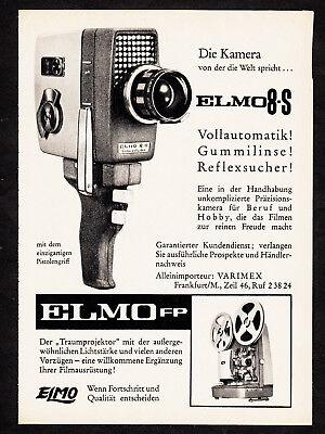 3w2383/ Alte Reklame von 1961 - ELMO 8-S - Die Kamera von der die Welt spricht…