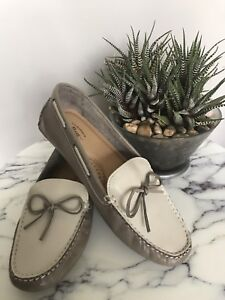 G.H Bass - Grey & White Leather Moccasin Loafer - Size 9