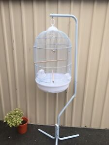 Brand NEW round big bird cage incl stand-black or white, eftpos avail
