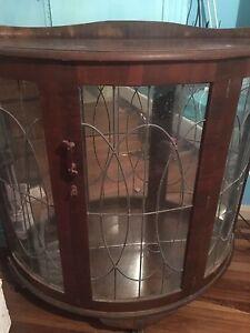 Antique cabinet lead light glass door Gorokan Wyong Area Preview