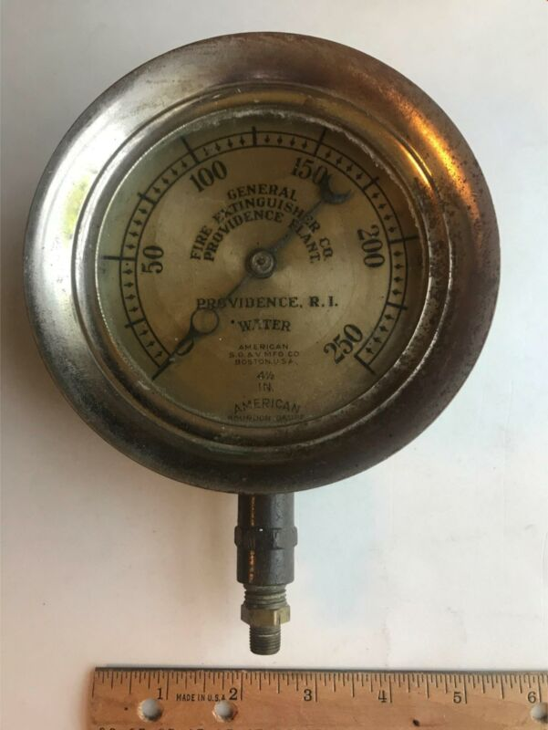Vtg 1903 Providence Rhode Island RI Fire Extinguisher Water Steam Pressure Gauge