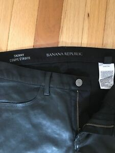 Banana Republic Leather-Look Skinny Black Jeans