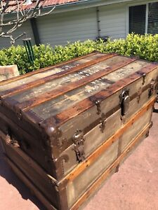 Antique Travellers Trunk/ Chest /Rustic Coffee Table/Storage Tools Box