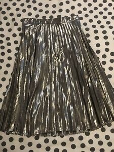 Gap Gold Metallic Pleated Midi Skirt - Size 00