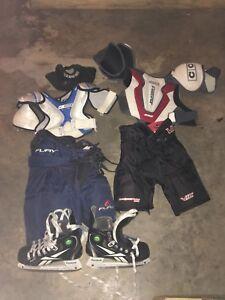 Assorted hockey gear
