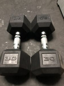 Rubber Hex Dumbbells 30lbs