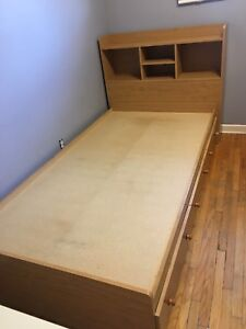 Twin bed frame platform with drawers & headboard