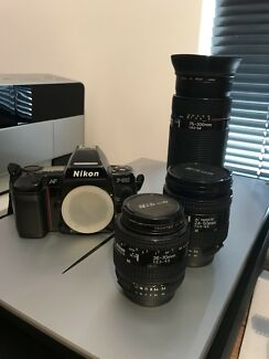 Nikon f801 autofocus film camera w 3 lenses plus