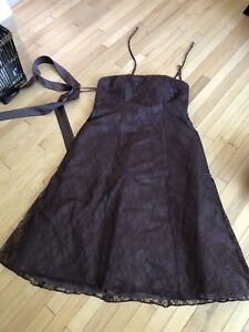 Brown lace overlay 3/4 length dress