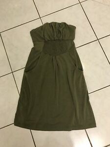Olive/Army green colour strapless dress