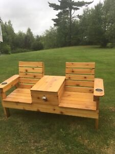 Cedar jack and Jill bench with built in cooler!