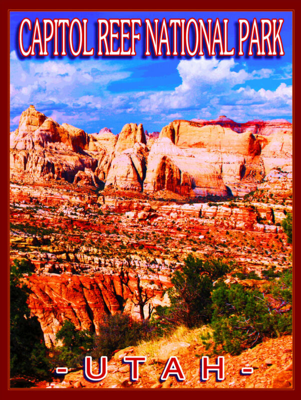 Capitol Reef National Park Utah United States Travel Advertisement Art Poster
