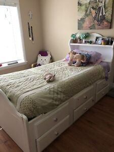 Solid wood White captains bed