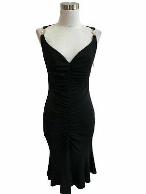N667 VERSACE Designer Dress Black Silver Bodycon Medusa Size 40 US Small