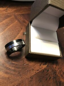 Ring size 10. Black and silver.