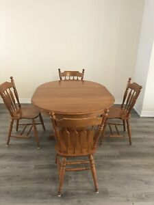 Extendable Solid wood table & 4 chairs