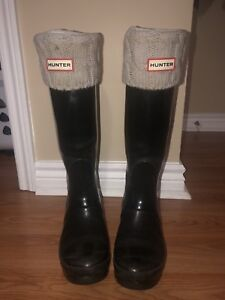 Size 7 Hunter Boots with Socks