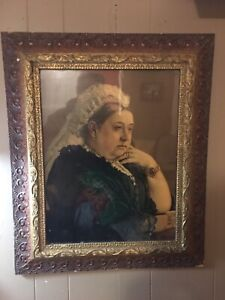 Antique Queen Victoria Portrait in Original Frame