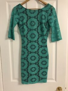 Turquoise Lace Pattern Bodycon Dress