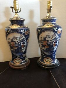 Hand painted blue lamp pair