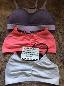 Girls or ladies sports bras.  Champion and under armour