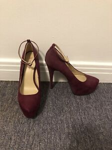 Burgundy high heels with ankle strap size 8