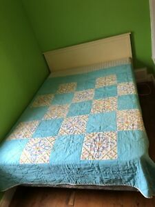 Double bed, mattress, box spring and headboard