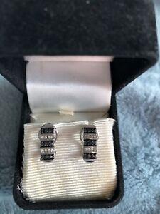 Black Diamond and White Diamond Earrings