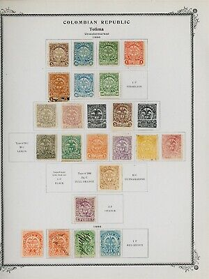COLOMBIA STATES - TOLIMA Scott Specialty Album Page Lot #12 - SEE SCAN - $$$