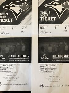 Blue Jays Tickets vs Tampa Bay Today. 2 for $50
