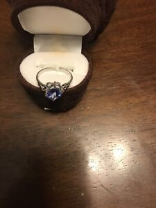 Ladies Size 6.5 10k White Gold Blue Diamond And Tanzanite Ring