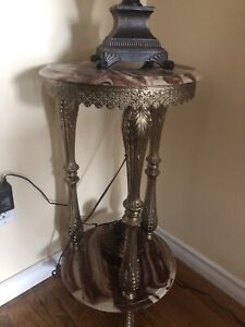 Antique marble and brass stand end table