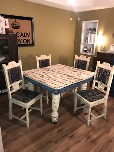 Solid Harvest Table and oak chairs