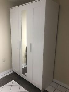 White Wooden Wardrobe with mirror