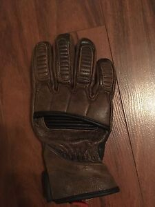 Brown leather motorcycle gloves