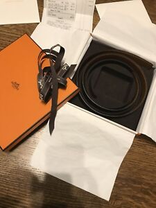 Hermes Unisex 32mm Leather Belt Size 80 Authentic NEW