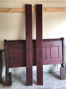 Cherry Finish Sleigh Bed frame w/ night stand