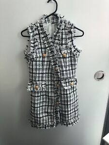 Balmain style tweed mini  black white dress xs 6 Docklands Melbourne City Preview