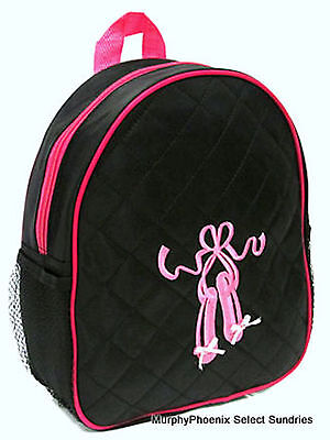 Girls Small Quilted Backpack Ballerina Slippers Dance Bag Black/Fuchsia NIP (Girls Ballerina Slippers)
